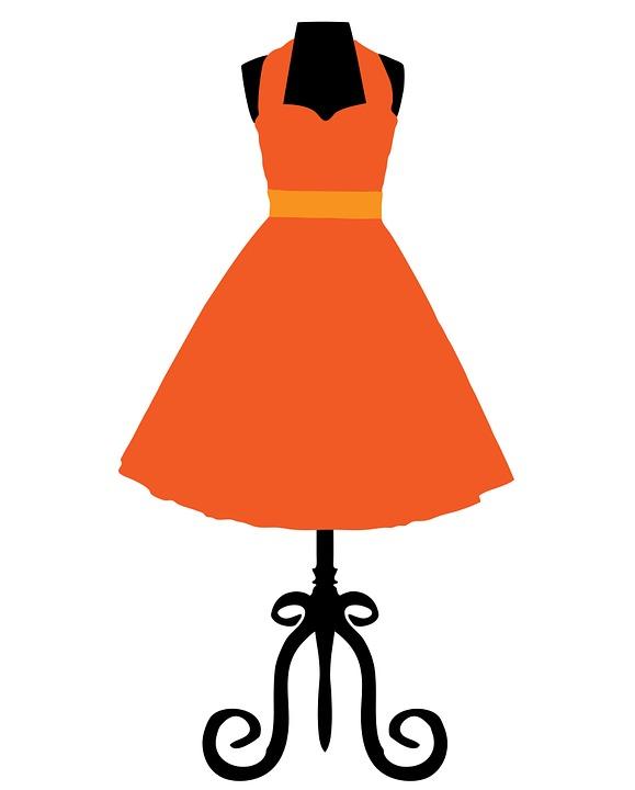 A dress on a coat hanger