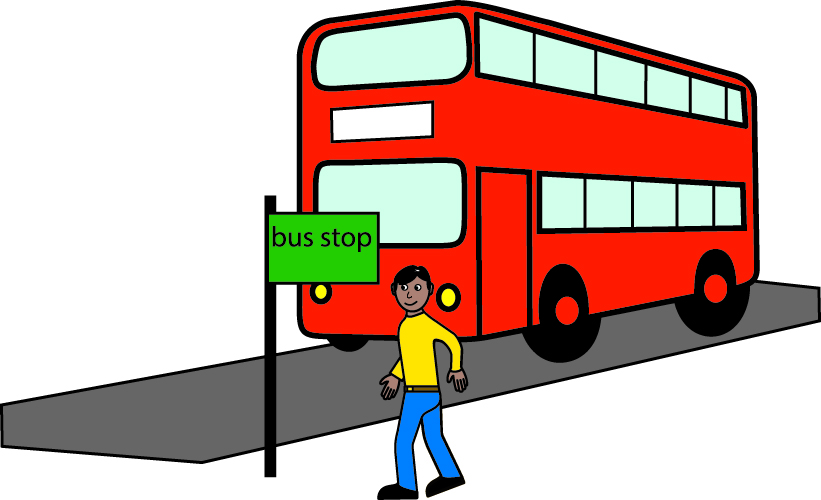 A man is seen standing next to a bus stop. A red bus is approaching in the distance