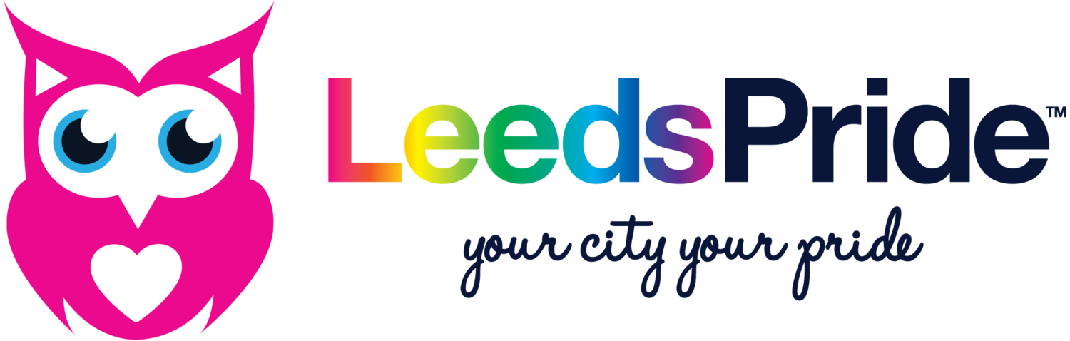 An illustrated pink owl sits next to the word written out in rainbow colours 'Leeds Pride'