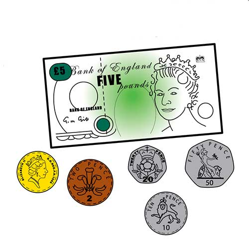 An illustration of a five pound note a pound coin, a fifty pence, a twenty pence and ten pence coin.