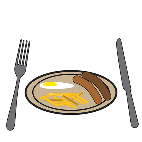 A fried egg, two sausages and chips on a plate with a knife and fork at the side of the plate