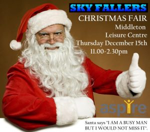 Poster advertising Sky Fallers Christmas Fair taking place in Middleton Leeds on Thursday 15th of December 11am till 2pm