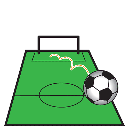 A football net with a footbal sitting in the mouth of the goal