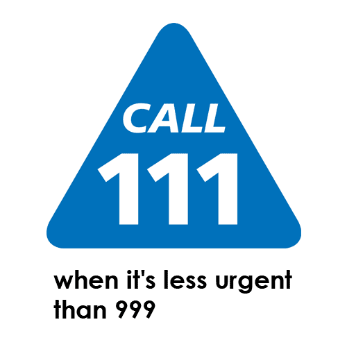 The image says Call 111 when it's less urgent than 999