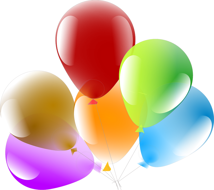 6 ballons, from left to right, a purple ballon, a brown ballon, a red ballon, an orange ballon, a green ballon and a blue ballon.