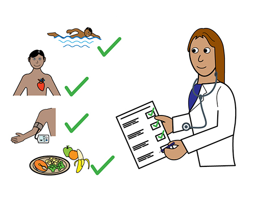 A doctor is ticking a form as part of giving someone a annual health check