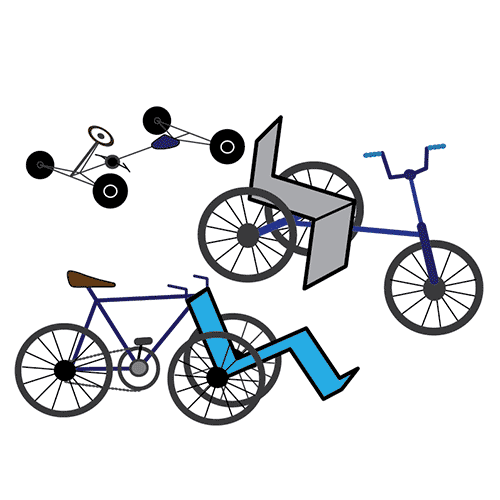 The illustration shows three types of adapted bikes. One is a go-cart style bike. The other two bikes are tricycles.