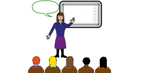 A lady is stood in front of white board delivering some training to a small audience of men and women.