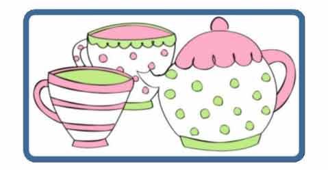 Teapot and 2 tea cups