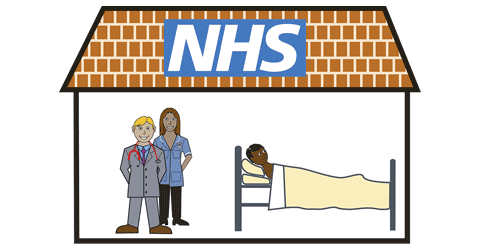 A doctor an nurse stand close to a man who is laid down in bed.