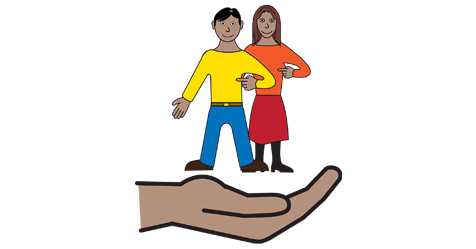 An illustration of a man and a lady being held in a hand. The image represents supportting people.