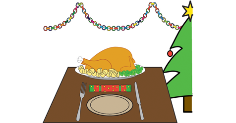 A roast turkey is on a table, also on the table is a knife, fork and christmas cracker. In the background there are Christmas decorations and a Christmas tree with a gold star on the top.