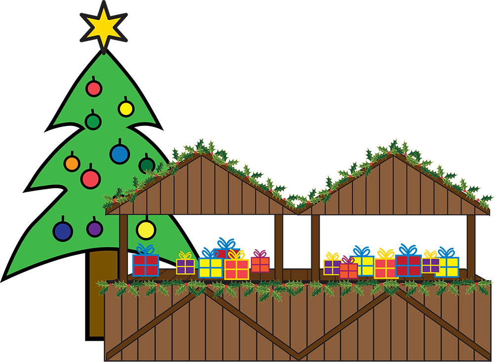 Presents wrapped up with colourful paper and bows sit on wooden stalls. In the background there is a Christmas trees with baubles on. On the top of the Christmas tree is a gold star.