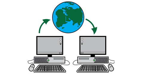 Two computers are shown with a picture of a globe above them. The image represent the two computers connecting to the internet