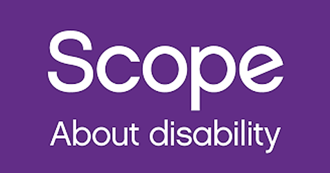 Scope logo the strapline reads about disability