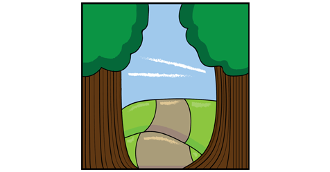 Two tall trees stand at the entrance of a long path that stretches off into the distance