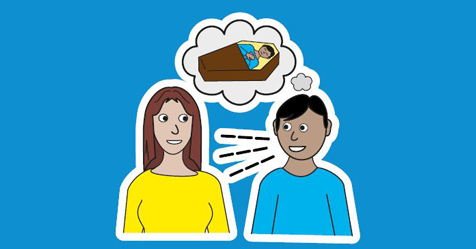 There is a man and a women speaking to each other. The man has a thought bubble above his head. Inside the thought bubble is a picture of him laying in a coffin.