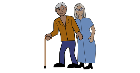 An older looking gentleman with a walking stick and an older looking lady are stood next to each other.