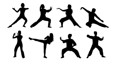 Silhouettes of people performing Tai Chi moves