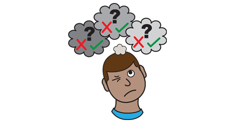 A picture of a man, above his head are three thought bubble clouds. Each though bubble cloud has a green tick a red cross and a grey question mark in it.