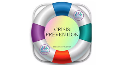 A life buoy in the middle are the words crisis prevention
