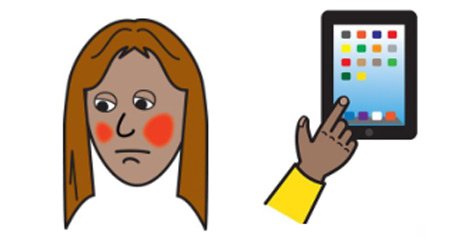 A woman is looking worried. Next to the woman is an iPad.